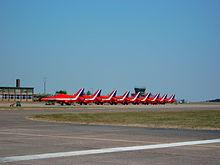 Red Arrows on the runway